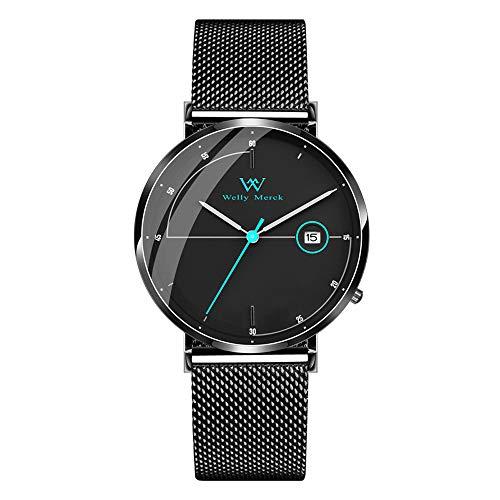 - Welly Merck Men's Watch Swiss Quartz with Date Luxury Minimalist Watch Blue Hand Date Display 20mm Black Width Mesh Interchangeable Mesh Strap, 5 ATM Water Resistant