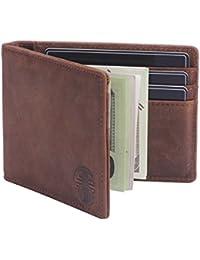 RFID Blocking Slim Wallet with Money Clip,Genuine Leather Bifold Thin Minimalist Front Pocket Wallets for Men