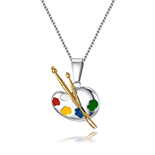 Painter's Palette Artist Necklace Pendant Charm, Stainless Steel - Beautiful!