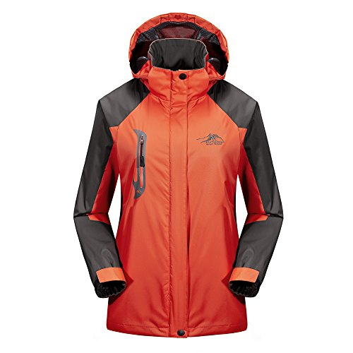 BENNINGCO Womens Outdoor Jacket Raincoat Hiking Ski jacket waterproof Rain Jacket(Orange,2XL)