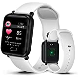 2019 Smart Sport Watch Men Women's IP67 Waterproof Watch Heart Rate Monitor Pedometer Tracker Watches for iOS Android+Box,White