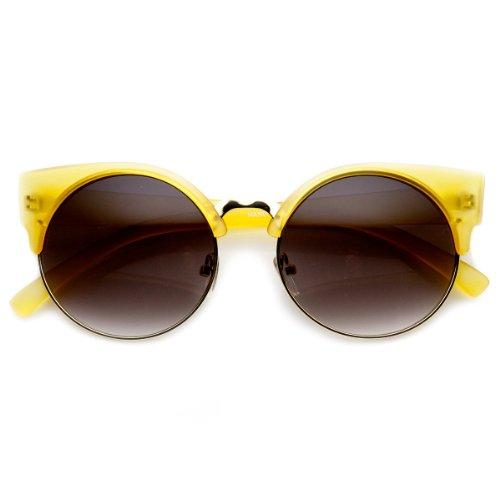 Round Circle Half Frame Semi-Rimless Cateye Sunglasses (Yellow)
