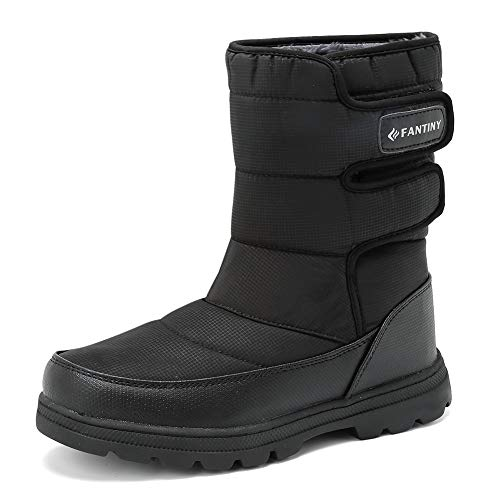 EQUICK Women and Men Waterproof Snow Boot Drawstring Cold Weather Boot,D.black-46 ()