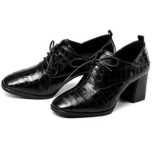 KNGMGK Spring Europe and The United States Lace Shoes Leather Bare Boots Women's Shoes Black L8DpsA