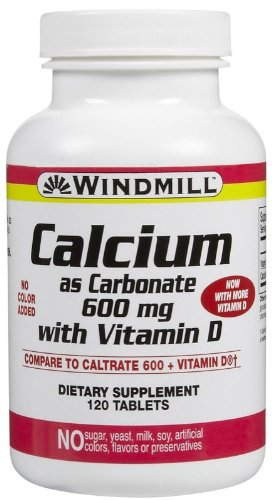 Windmill Calcium Carbonate 600 mg + Vitamin D Tabs, 120 ct For Sale