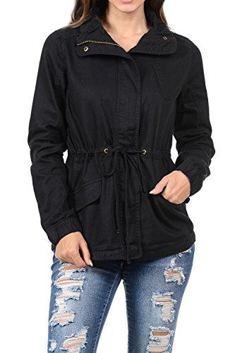Women's Premium Vintage Wash Lightweight Military Fashion Twill Hoodie Jacket Black M (Women Light Wash)
