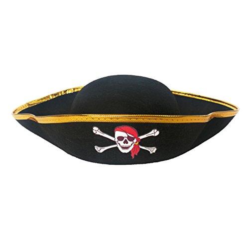 (Superex Tricorn Pirate Hat - Fun Party Pirate Costume Colonial Hat 13 x 10 x 3)