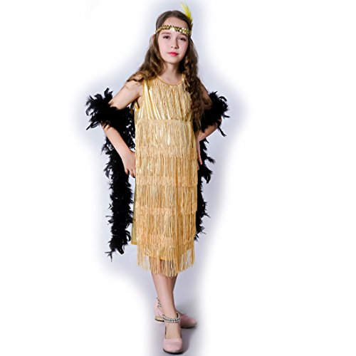 flatwhite Girl 's Fashion Flapper Satin Dress Costume for Children (7-9 Y, Gold) ()