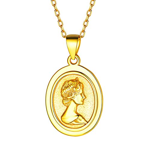 Gold Coin Necklace, 18K Gold Plated Dainty Elizabeth Ⅱ Queen Antiqued British Fashion Oval Pendant Necklace Personalized Jewelry for Women Men ()