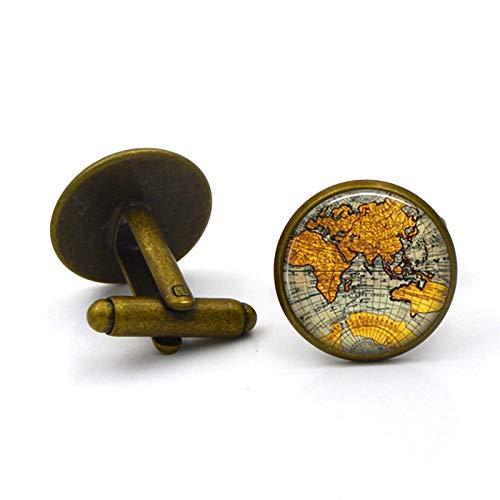 Globe World Map Luxury Shirt French Cufflinks Men Women Accessories Antique Vintage Bronze Gift Plated bronze