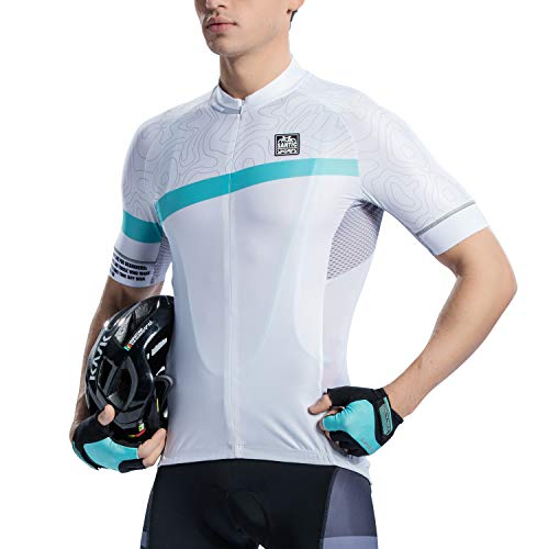 Santic Cycling Jersey Men's Shorts Sleeve Tops Bike Shirts Bicycle Jacket with Pockets Half Zip White ()