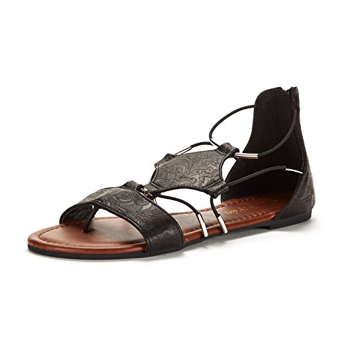 DREAM PAIRS Women's Black Gladiator Flat Sandals Size 10 M US ()