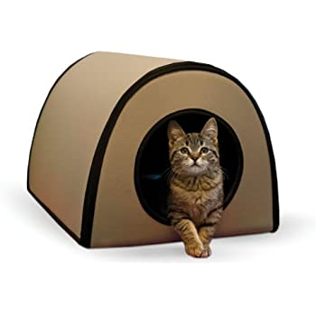 """K&H Pet Products Mod Thermo-Kitty Heated Shelter Tan 21"""" x 14"""" x 13"""" 25W Great for Outdoor Cats"""
