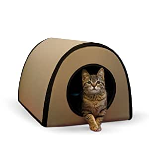 K&H Manufacturing Mod Thermo-Kitty Shelter Tan 15-Inch by 21.5-Inch by 13-Inch 25 Watts
