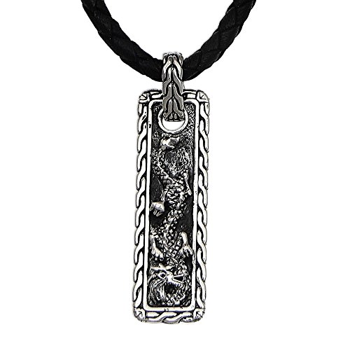 NOVICA Men's .925 Sterling Silver Pendant Necklace with Black Leather Cord, 20