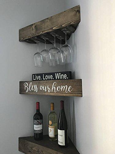 Corner Wine Rack - Wine Rack, Corner Floating Shelf