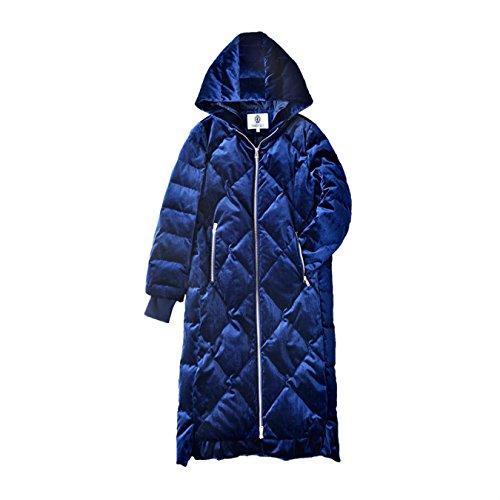 BRJKDE Dabuwawa Dark Blue Winter Women Long Down Coat Hooded Parka Winter Warm Jacket from BRJKDE