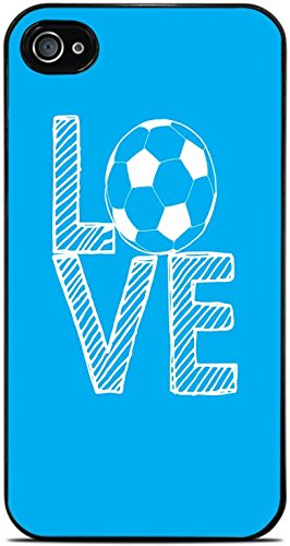 Love Soccer Stacked Blue with White Letters Black Hardshell Case for iPhone 4 / 4S by Moonlight Printing