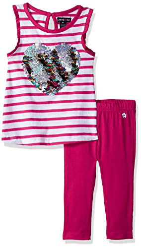 Limited Too Big Girls' Fashion Top and Legging Set, Stripes with Sequin Heart Multi Print, 8
