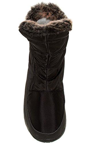 Arctische Plunge Amarylis Damesmode Faux Bont Gevoerde Laarzen Zwart