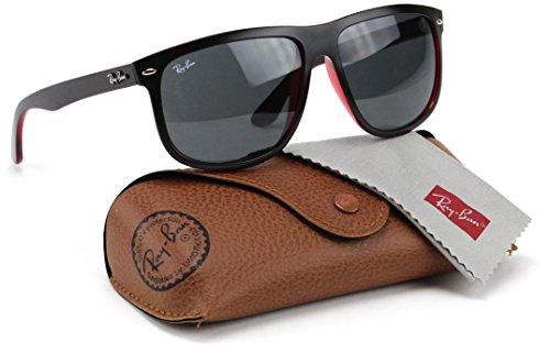 Ray-Ban RB4147 617187 Sunglasses Matte Black On Transparent Red/Dark Grey Lens 60mm