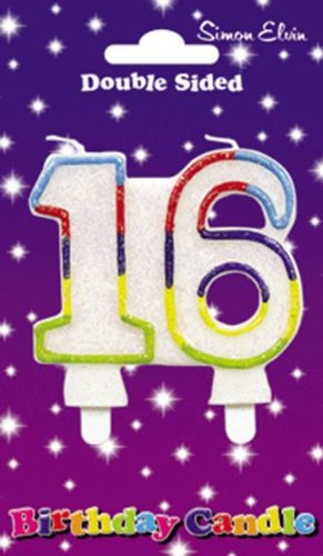Birthday Candle Number 16 White Joint Glittery With A Light Blue Red Dark Purple Yellow And Green Outline Of Both Numbers
