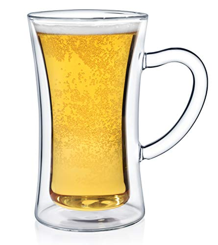 Dragon Glassware Beer Glass, Premium Designer Stein with Insulated Double-Walled Design, 13.5-Ounces, Gift Boxed