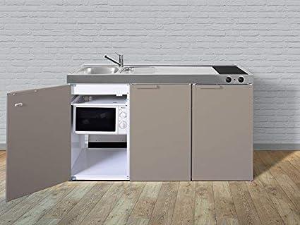 Miniküche Mit Kühlschrank Zubehör : Stengel miniküche pantryküche single küche 150cm beige metall becken