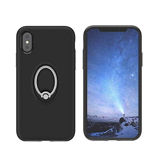 , 360 Rotating Ring Grip Holder Stand & Magnetic Metal Patch Shockproof Soft TPU Bumper Non-Slip Frame Anti Scratch Hard PC Back Protection Case Cover iPhone X &XS Black ()