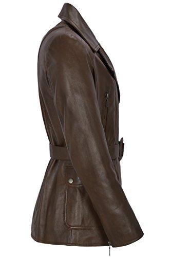 moda mujer cuero de marrón de piel de cordero diseñador de de de longitud media Chaqueta de real invierno de Chaqueta wzx6EZ