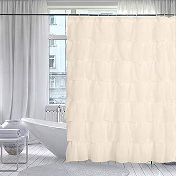 Gee Di Moda Gypsy Ruffled Shower Curtain 100 Polyester Fabric Bathroom Drapes Housewarming Gift 70 Inch Wide By 72 Inch Long Cream