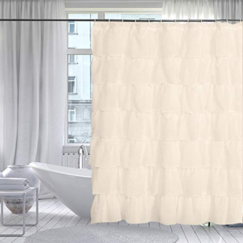 Gee Di Moda Gypsy Ruffled Shower Curtain, 100% Polyester Fabric Bathroom Drapes - Housewarming Gift - 70 Inch Wide by 72 Inch Long, Cream
