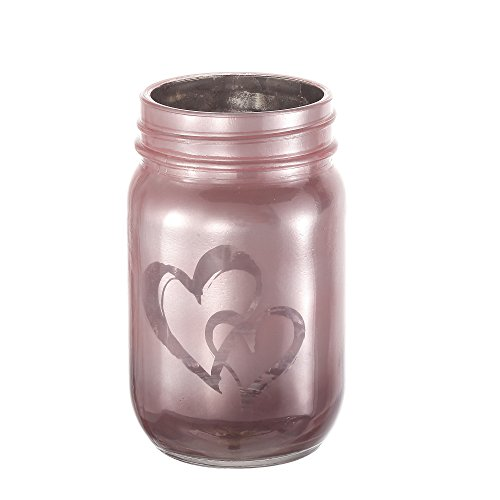 V-More Rose Gold Frosted Mason Jar Flower Vase Glass Candle Holder with Double Heart Pattern 5-inch Tall for Home Decor Wedding Party and Celebration (Set of 3) -