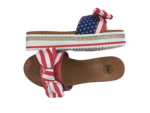 24P Women's Slippers Sandals Open-Toe Easy Slip-On All Day Comfort, Beautiful Ropy Braided & US Flag Bow.