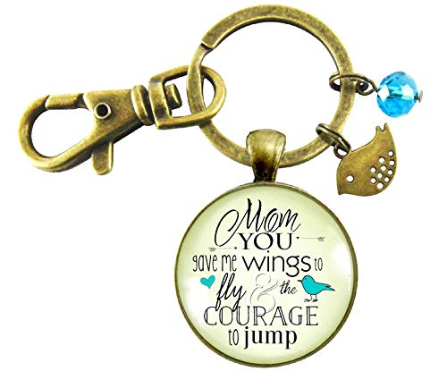 Thanks Mom Keychain You Gave Me Wings Courage Vintage Style Meaningful Jewelry From Daughter Bird Charm Keepsake Card