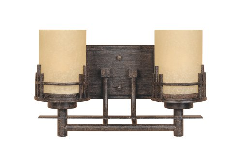 2 Light Mahogany - Designers Fountain 82102-WM Mission Ridge 2 Light Bath Bar, Warm Mahogany