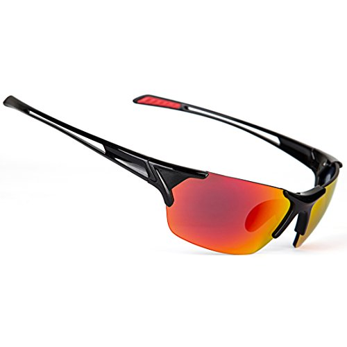 Shieldo Polarized Sports Sunglasses For Men And Women Running Cycling Fishing, Mirrored Integrated Polarized Lens Unbreakable Frame SLY002 - Mirrored Bans Red Ray
