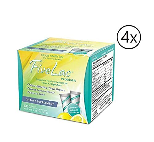 Fivelac Natural Probiotics Candida Solution with Acidophilus All Natural Probiotics Formulation 5 Lac 60 Servings by Global Health Trax GHT Pack 4