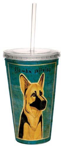 German Shepherd Merchandise - Tree-Free Greetings cc34004 German Shepherd by John W. Golden Artful Traveler Double-Walled Cool Cup with Reusable Straw, 16-Ounce