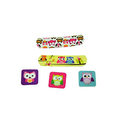Pack of 60pcs Assorted Breathable Waterproof Cartoon Owl Adhesive Bandages Hemostasis Band Aid for Children Kids