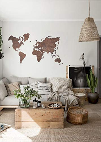 Amazon.com: Wooden World Map, World Map Wall Art, Push Pin Travel ...