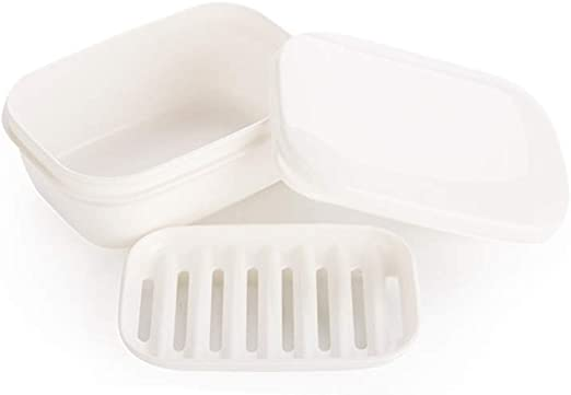 1 Travel Soap Dish Large Oval Container Box Case White Great Home School Gym