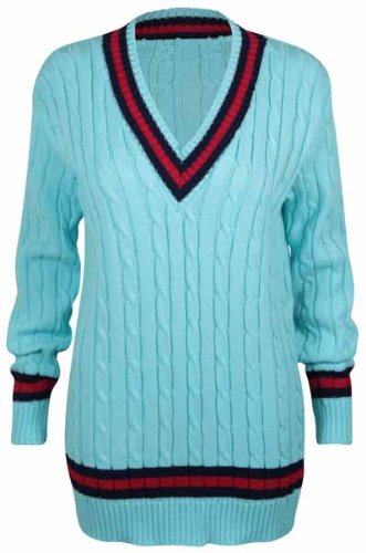 Pull Longue Style Haut Purple Manche Turquoise Bande Tricot V Hanger Femme Cricket Col aOwzqC5