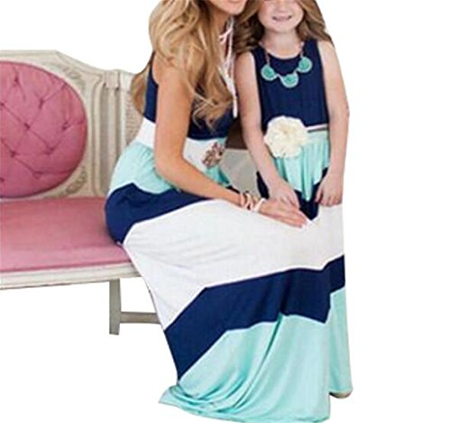 Dress Me Clothing (GAMT Mommy and Me Matching Dresses Long Maxi Beach Sundress Blue)
