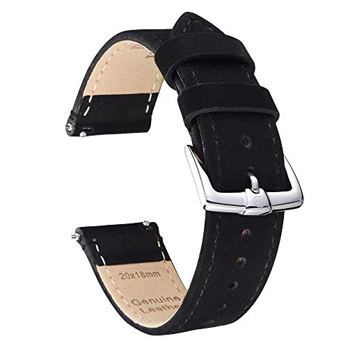 B&E Quick Release Watch Bands Strap Top Grain Genuine Leather - Nubuck Style Wristbands for Traditional & Smart Watch - 18mm 20mm 22mm Width Available -BKBK20