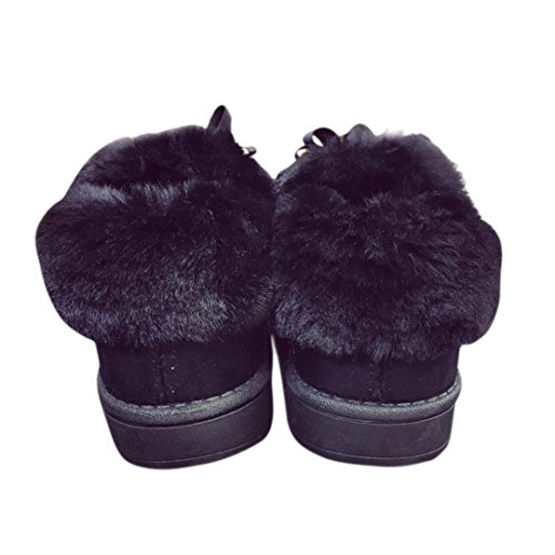 Womens Winter Boots, Egmy Flat Lace Up Fur Lined Winter Martin Boots Snow Ankle Boots Shoes Black