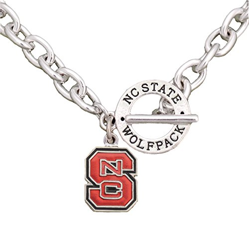 (Sports Accessory Store North Carolina State Wolfpack Team Name Toggle Silver Necklace Red Jewelry NCSU)