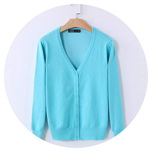 Qounfhy Knitted Cardigan Women Spring Autumn Long Sleeve V-Neck Sweater Single Button Pull Coat,Sky Blue,XXL