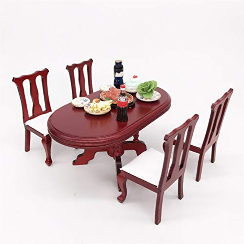NszzJixo9 5PS Artificial 1/12 Miniature Dollhouse Furniture Red Wooden Color Dining Table Chair Set Living Room Kids Pretend Play Toy from NszzJixo9