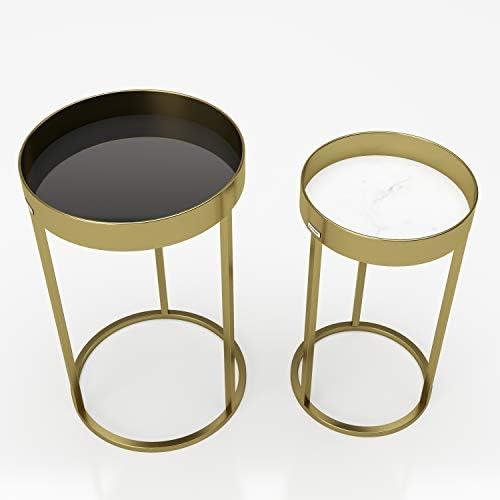 39 x 63 x 39 cm 2 pezzi a diverse altezze Oro Metallo PLAYBOY 144201GO Tavolino da appoggio